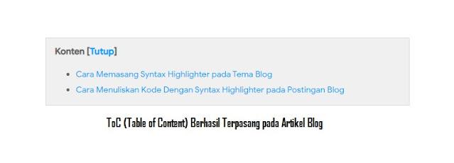 Cara Membuat Daftar Isi Artikel Otomatis di Blogger