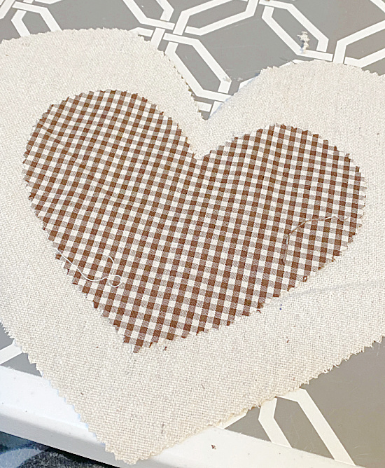 brown gingham heart on drop cloth heart