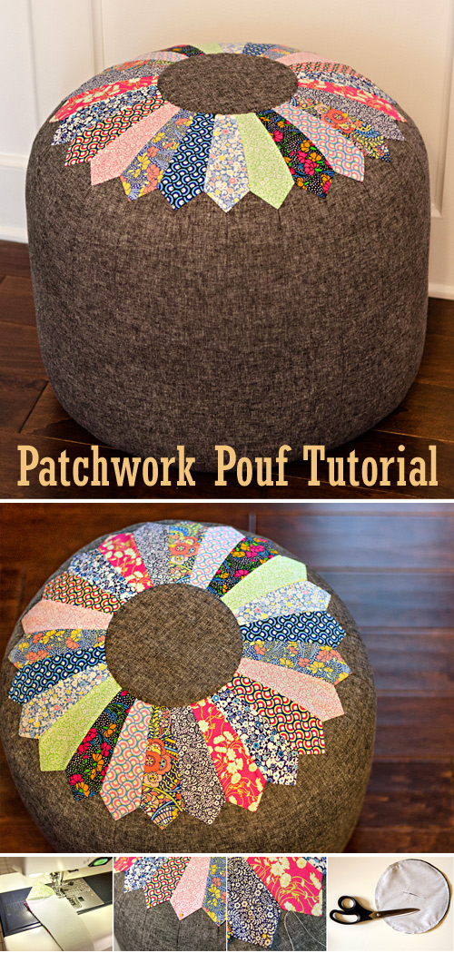 Patchwork Pouf. Dresden Pattern + Tutorial