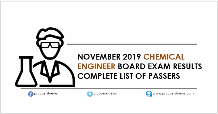 RESULT: November 2019 Chemical Engineer ChemEng board exam list of passers