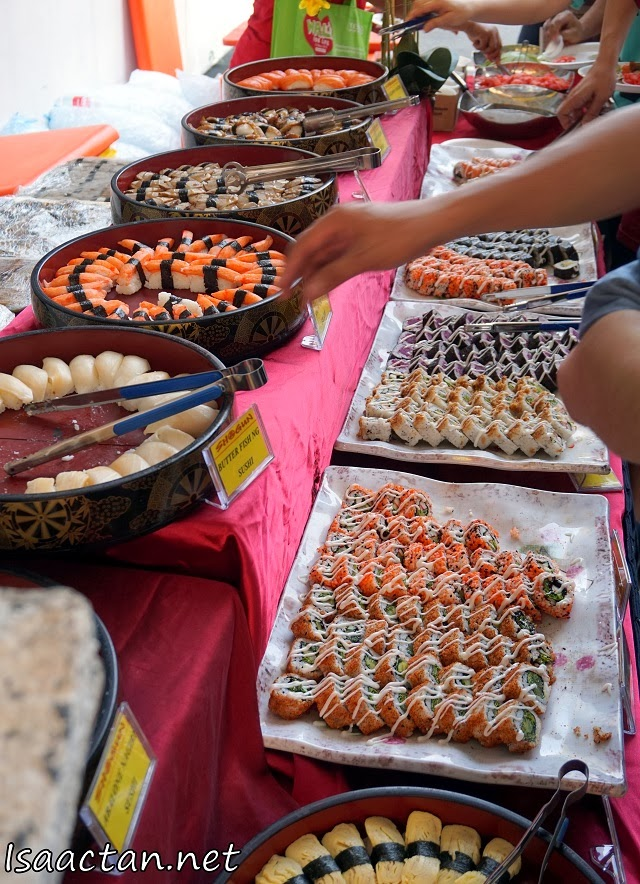 Rows and rows of sushi for japanese food lovers