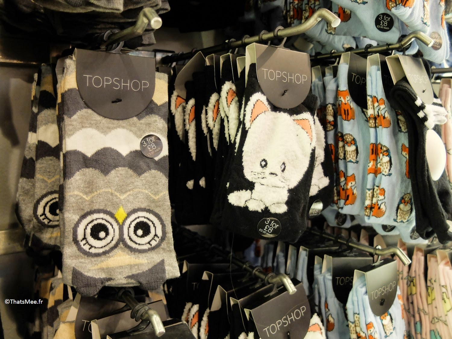 Chaussettes ridicool Hibou chat renard Topshop Londres Picadilly Oxford Street