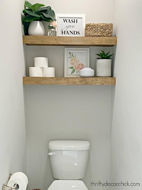 easy floating shelves above toilet