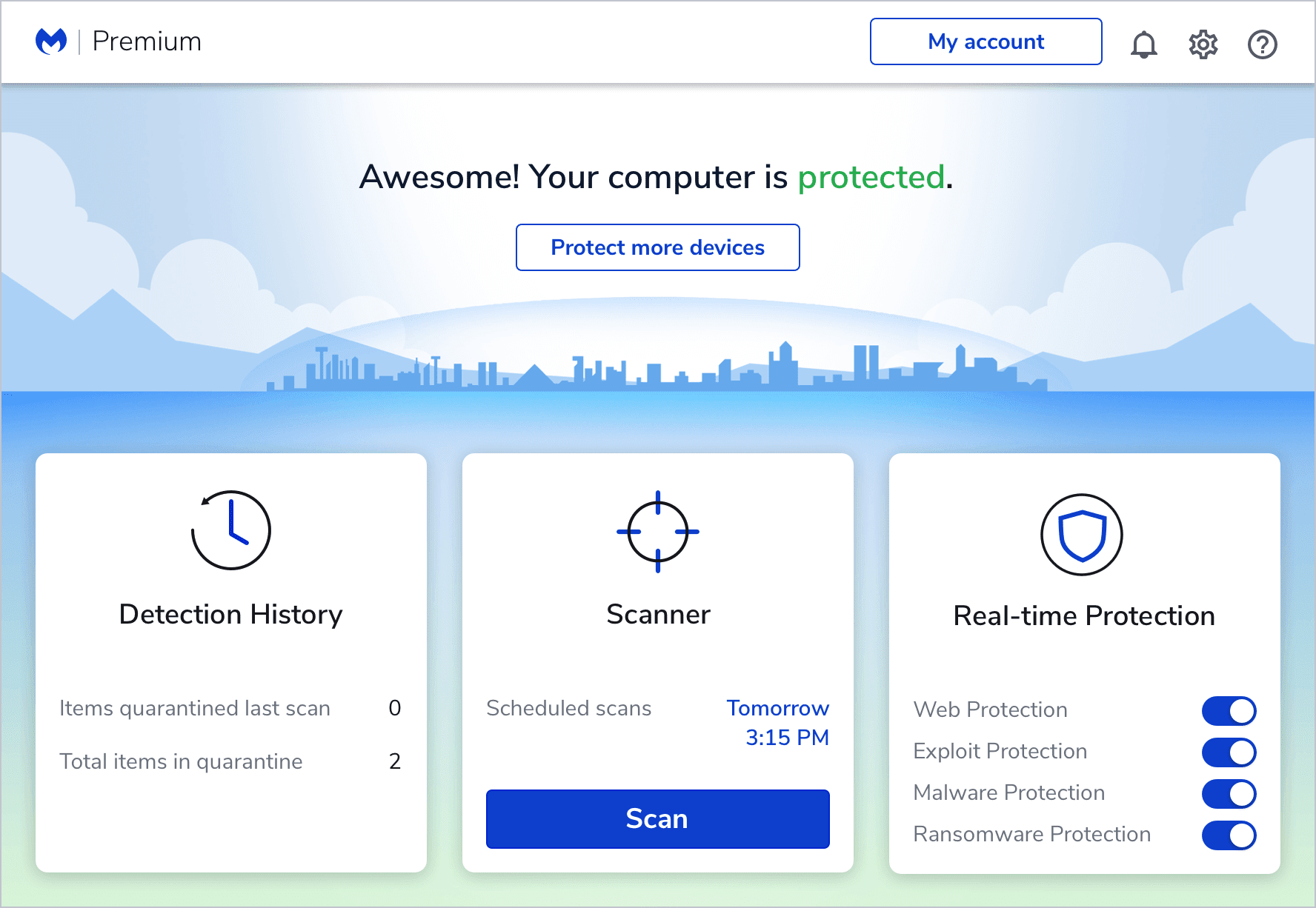 Malwarebytes Premium Dashboard Screenshot