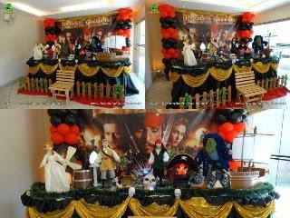 Decoração mesa de aniversário Piratas do Caribe luxo - Mesa temática decorada