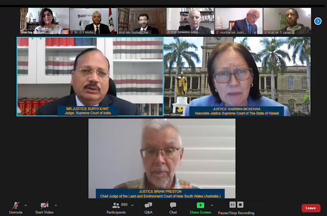 Justice Surya Kant, Judge Supreme Court of India, Justice Sabrina McKenna, Associate Justice, Supreme Court of Hawaii and Justice Brian Preston, Chief Judge of Land & Environment, Court of New South Wales participating in the International Webinar organized by Chandigarh University. Source: Chandigarh University