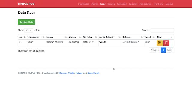 Halaman Module Kasir Aplikasi Simple POS