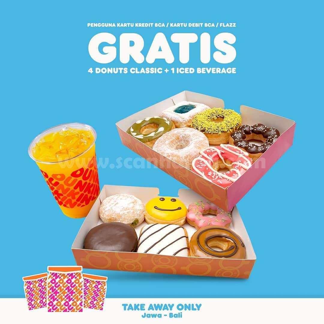 Dunkin Donuts Promo GRATIS 4 Donat + 1 Iced Beverages dengan Kartu Kredit BCA