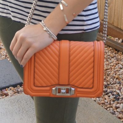 olive jeans and orange bag Rebecca Minkoff chevron quilted small Love crossbody bag in pale coral | away from the blue