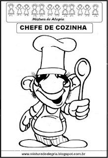 Desenho chefe cozinha para colorir