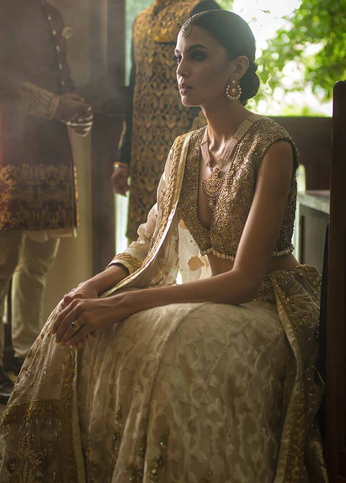 Deepak Parwani Ivory & Gold Plunging Neckline Bridal Dress