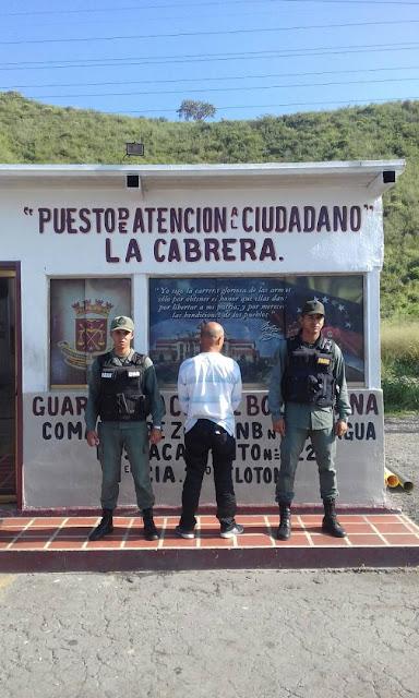 GNB detiene a sujeto solicitado en el peaje de La Cabrera
