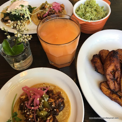 array of lunch items at La Capilla Mercado de Jugos Y Café in Berkeley, California