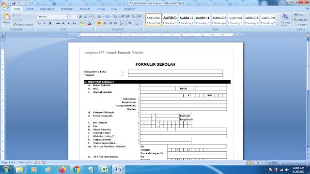 Contoh Format Terbaru Formulir Sekolah SD SMP SMA dan SMK