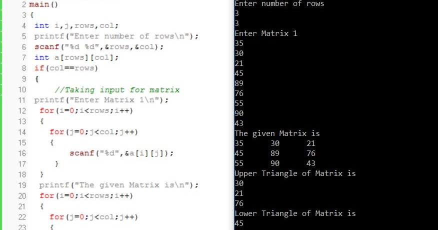 All C Programs: Program 166: Display Upper and Lower Triangle of