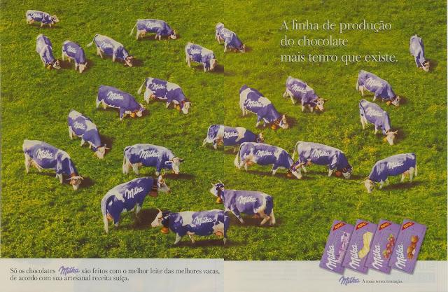 Campanha do Chocolate Milka que apresentava sua linha de produção do produto