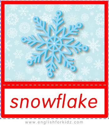 Snowflake - printable Christmas and winter season flashcards