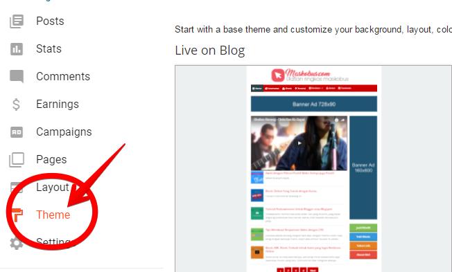 Menu theme atau template pada blogger