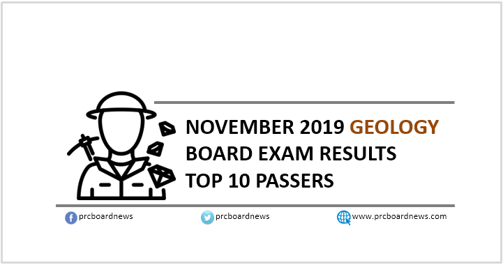 Top 10 Passers: November 2019 Geology board exam result