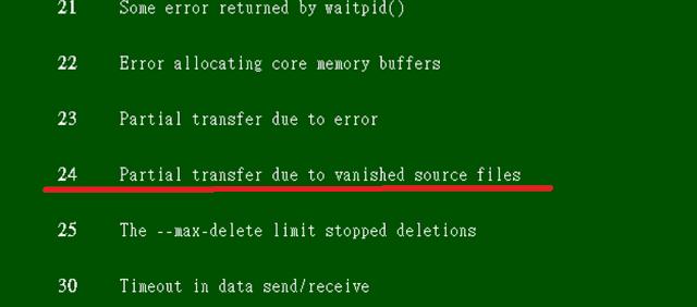 rsync exit code