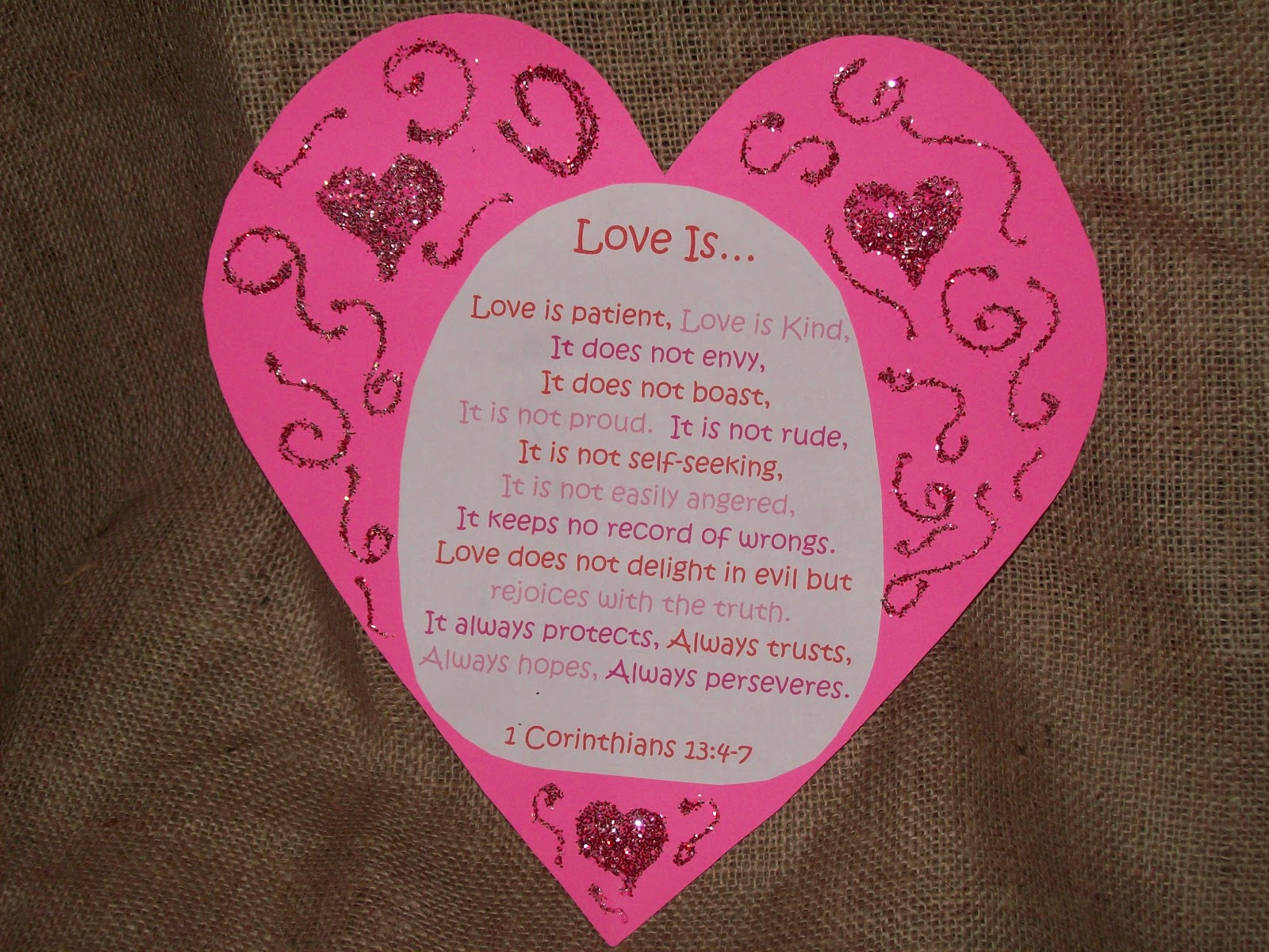 April S Homemaking Valentine Burlap Bunting Amp Sunday School Craft