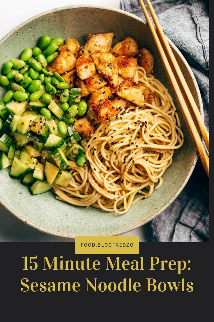 Meal Prep Sesame Noodle Bowls! Fork-twirly noodles, an easy creamy sesame sauce, perfect browned chicken, and all the veg. YUM.