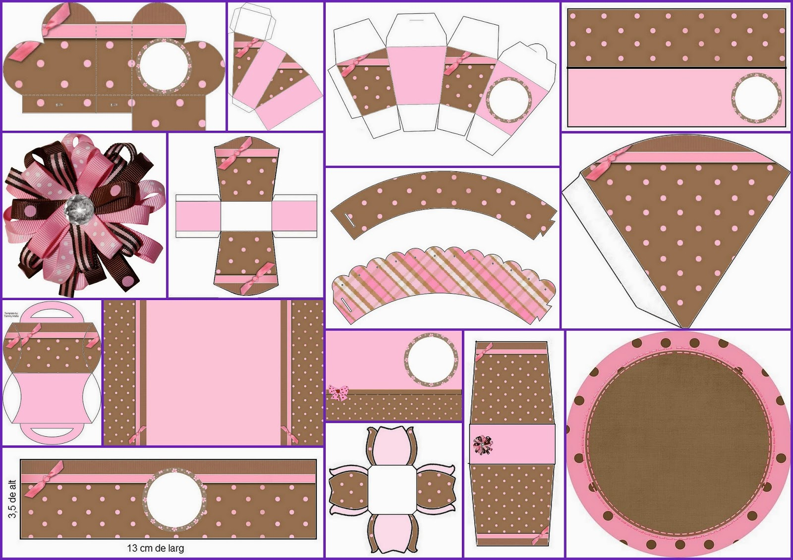 Pink and Brown with Polka Dots Free Printable Quinceanera Party Kit.
