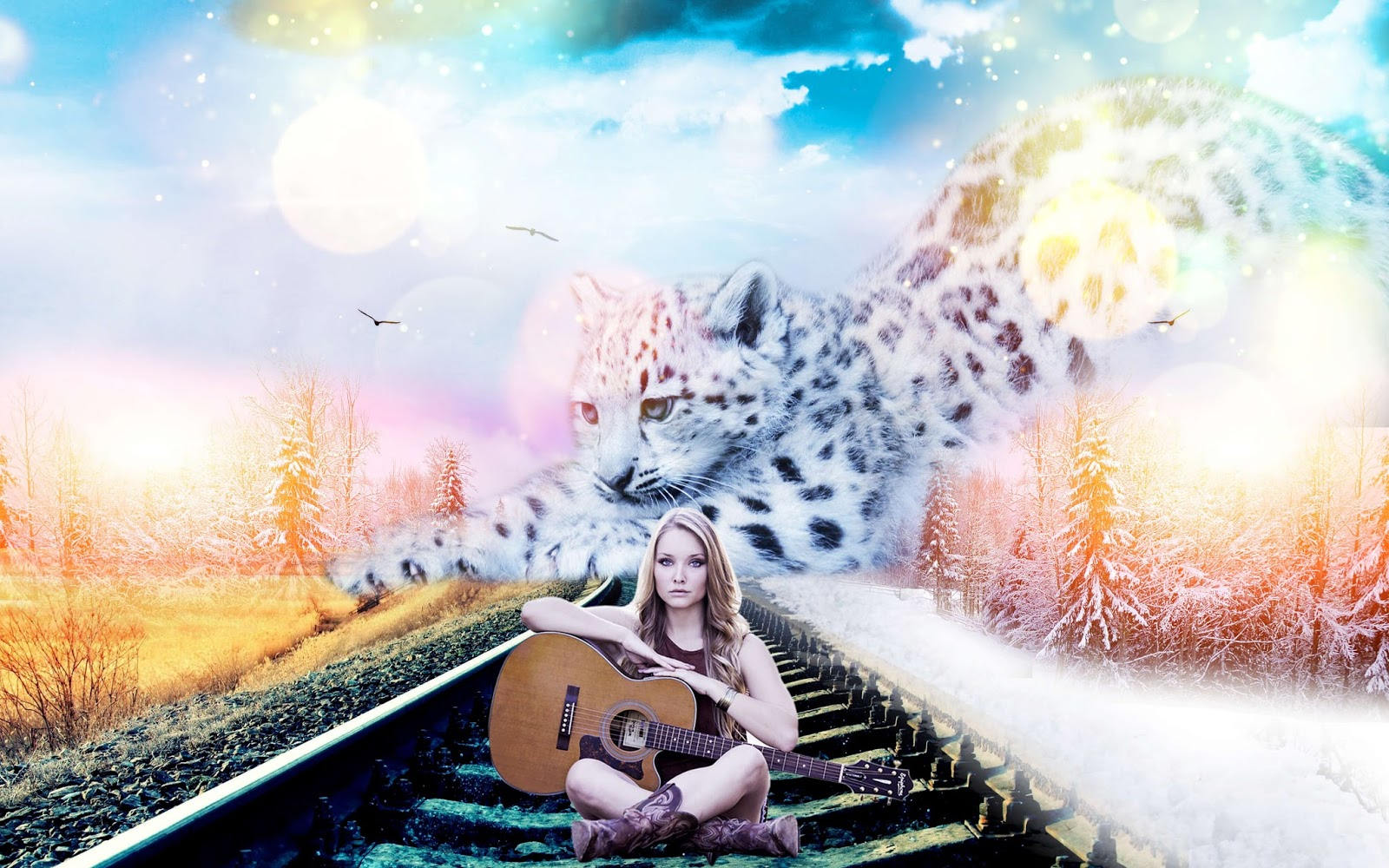 Photoshop CC Speed Art Version: Huge Fantasy Snow Leopard with Beautiful Guitar Woman Manipulation
