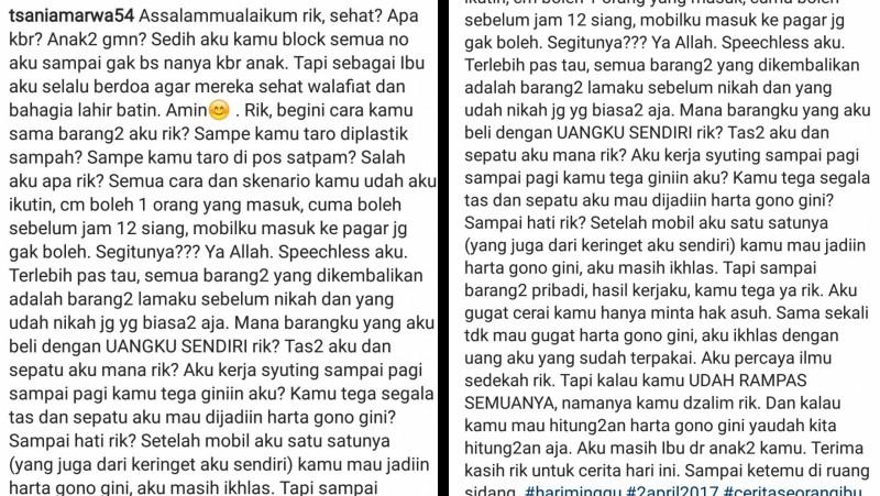 Kata-kata dalam postingan instagram Tsania Marwa