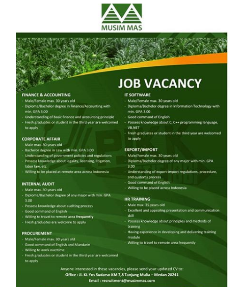 Lowongan Kerja PT Musim Mas Deadline 26 Agustus 2019