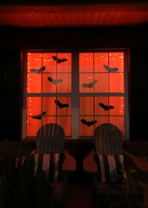 Halloween Home Tour - bats in the window, orange lights  |  She's Crafty