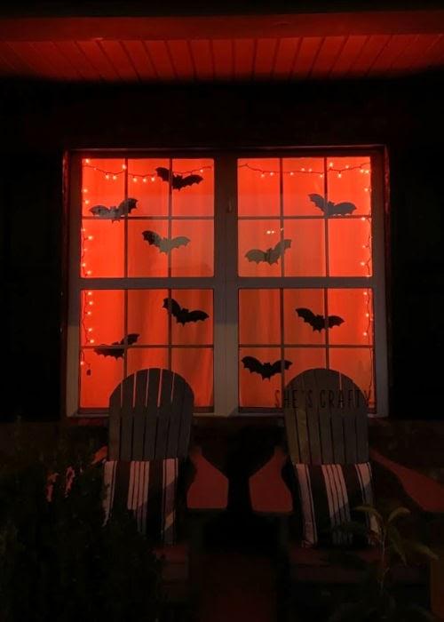 Halloween Home Tour - bats in the window, orange lights  |  She's Crafty