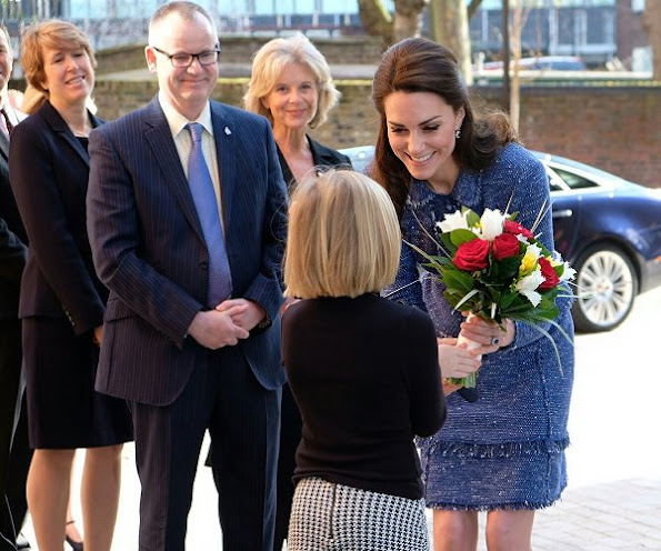 Kate Middleton wore Rupert Sanderson Malory Storm Suede Pumps and carried Russell and Bromley Clutch bag
