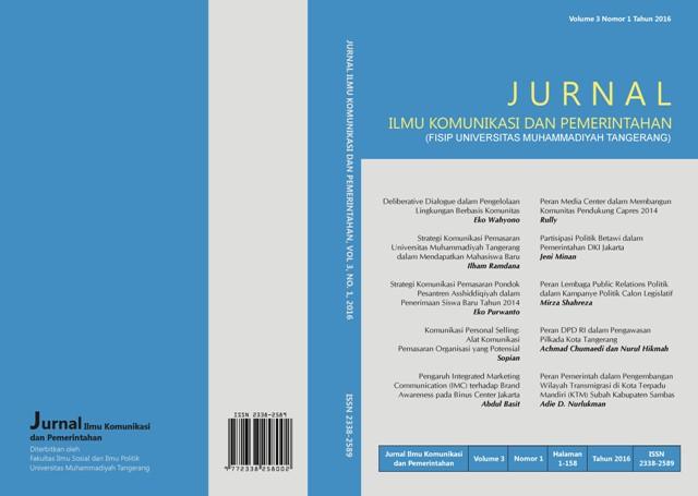 Jurnal Ilmu Komunikasi dan Pemerintahan Volume 3 Nomor 1