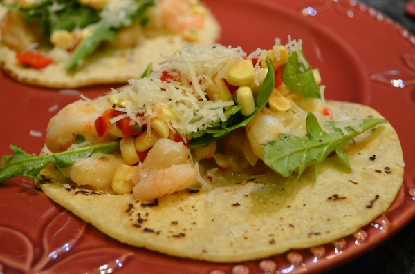 Roasted Garlic Shrimp Tacos with Arugula, Manchego, and Corn, Red Pepper, and Chive Salsa