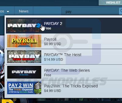 Resultado de búsqueda de PAYDAY 2 en Steam.