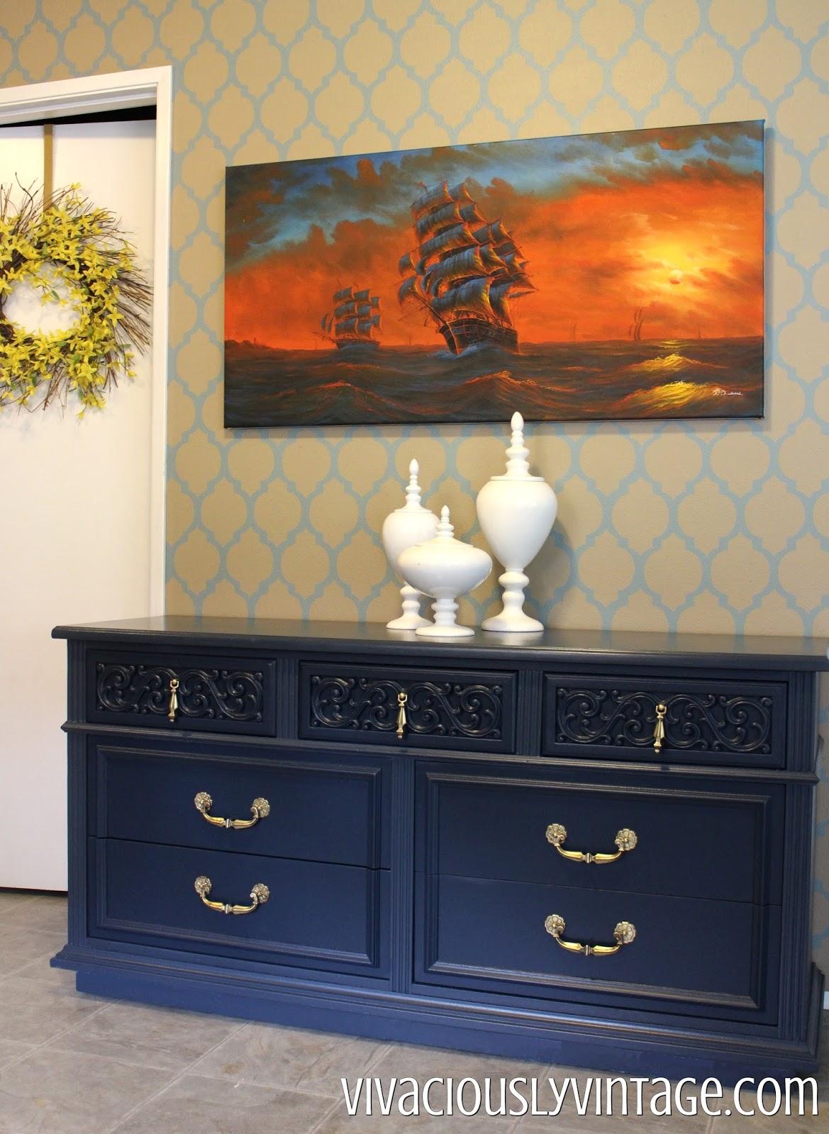 Relatively Ansley Designs: Vintage Navy Blue Dresser! HG03