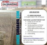 Job Vacation at PT. Bondi Syad Mulia Surabaya Latest June 2019