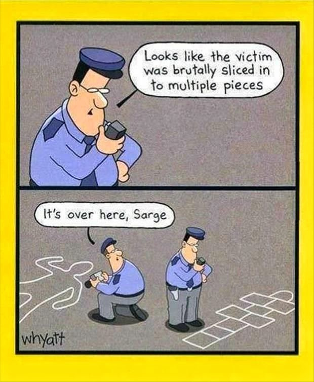 Funny Crime Scene Police Cartoon Joke Picture- Looks like the victim was brutally sliced to multiple pieces