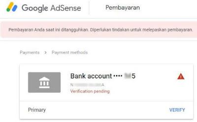 verifikasi rekening bank dari google adsense - tampilan masih proses adsense