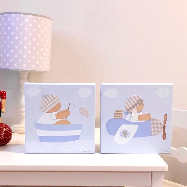 Cuadros pintados a mano, perfectos  para DECORAR la habitación infantil !