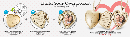 build your locket, pictures on gold, heart locket, picture locket