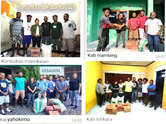 Komunitas Bakubantu 2020 ,memberikan bantu kepada mahasiswa papua terdampak Pandemi Covid-19 di berbagai kota study