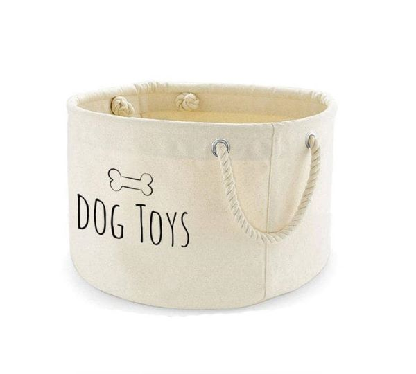 Use this cute and sturdy dog toy basket to help keep your pets toys up