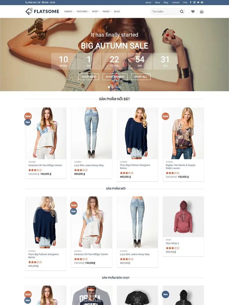 Template blogspot bán hàng Flatsome Classic Shop chuẩn seo