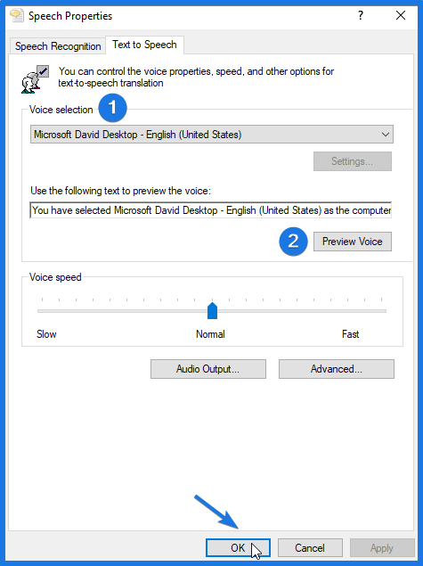 Configure Windows 10 Text to Speech