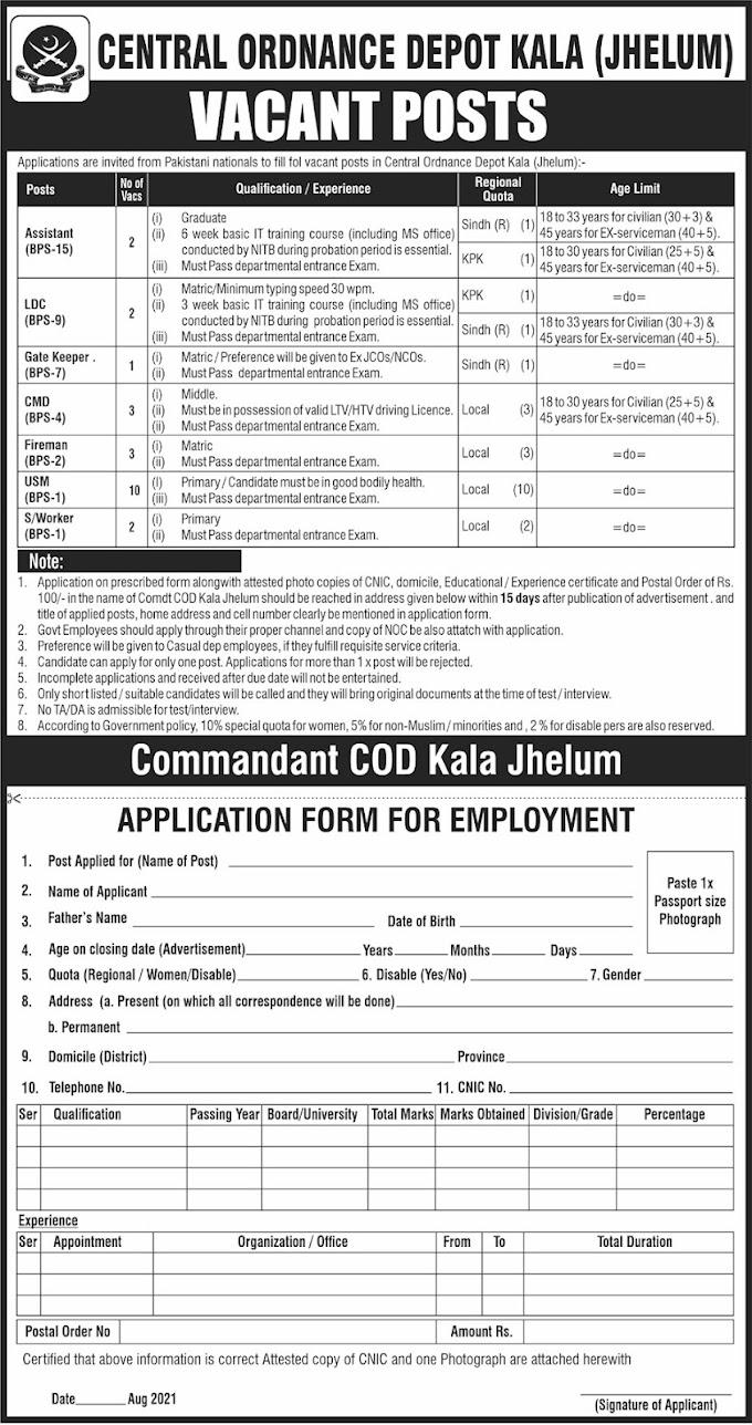 Pakistan Army Central Ordnance Depot COD Jobs 2021   Pak New Jobs