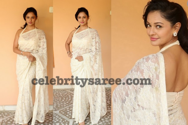 Pooja Kumar in Off White Brasso Saree