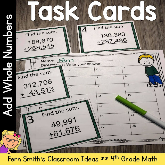 4th Grade Go Math 1.6 Add Whole Numbers Task Cards #FernSmithsClassroomIdeas