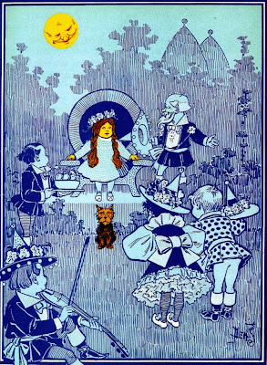 Wizard of Oz Dorothy and Toto with the Munchkins